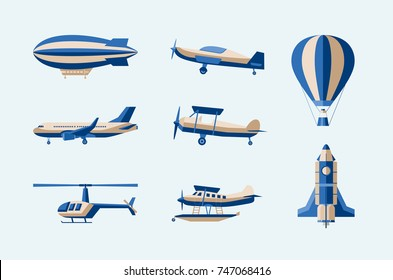 Aircraft - modern vector isolated set of objects on light background. Different means of transport: plane, helicopter, hot air balloon, airship, rocket, amphibian. Five flying machines