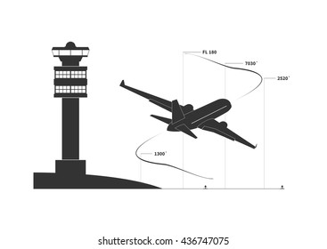 Aircraft on climbing phase. Vector illustration