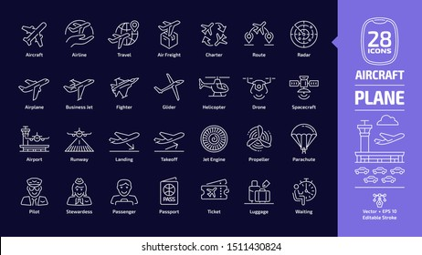 Aircraft outline icon set in dark mode with flight plane editable stroke symbol: airplane, business jet, airport, fly aeroplane, commercial aviation, travel air, military fighter, luggage, waiting.