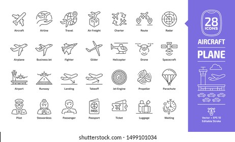Aircraft outline icon set with flight plane editable stroke symbol: airline, travel, air freight, charter, route, radar, airplane, business jet, military fighter, glider, helicopter, drone, spacecraft