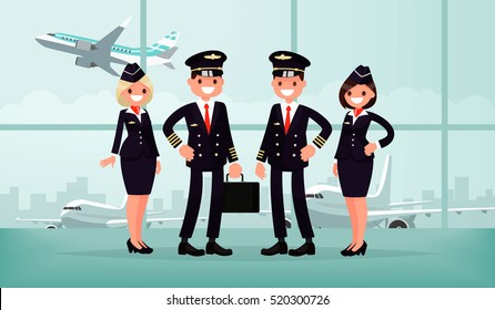 Aircraft personnel. The crew of civil airplane in the airport building. Pilots and stewardesses. Vector illustration in a flat style