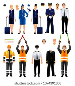 Aircraft pilot, stewardess and air traffic controller uniform. Set. Vector isolated on white background illustration