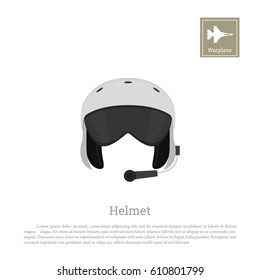 Aircraft pilot's helmet. Military aviator equipment. Vector illustration