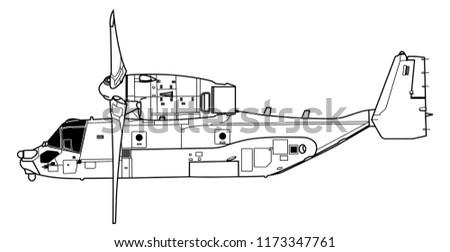 aircraft profiles boeing vertol v 22 osprey stock vector royalty Bell Boeing V-22 Osprey boeing vertol v 22 osprey