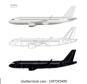 Aircraft in realistic and outline style. Black silhouette of plane. Side view of airplane. Industrial isolated blueprint. Vector illustration