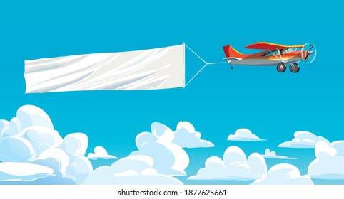 Aircraft red with ribbon banner advertising, in the sky above the clouds. Vector