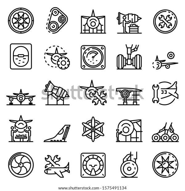 Aircraft repair icons set. Outline set of aircraft repair vector icons for web design isolated on white background
