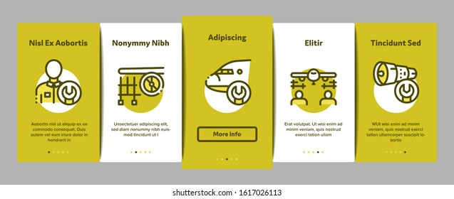 Aircraft Repair Tool Onboarding Mobile App Page Screen Vector. Aircraft Engine And Chassis, Helicopter And Airplane, Master And Hangar Concept Linear Pictograms. Color Contour Illustrations
