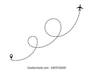 Aircraft route dotted lines. Tourism and travel. Tourist route by plane.  Vector tracks traveler dotted lines.