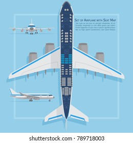 Aircraft seats plan top view. Business and economy classes airplane indoor information map. Vector illustration. Chart plane seat, plan, of aircraft passenger