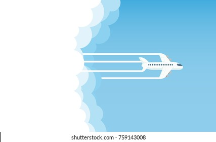 aircraft in the sky and sun, vector illustration