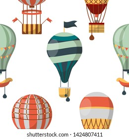 Aircraft or transport air balloon seamless pattern vector basket and sandbag ladder and flags traveling and transportation endless texture aerospace flight wallpaper print recreation trip or voyage