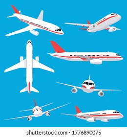 Aircraft transport. Passenger flight jet airplane, aviation vehicles, flying airline airplanes isolated vector illustration icons set. Plane aviation, trip jet, wing flight transport