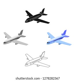 Aircraft for transportation of a large number of people. The safest air transport.Transport single icon in cartoon style vector symbol stock illustration.
