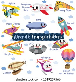 Aircraft Transportations cartoon set with vehicles name in perspective view vector illustration.