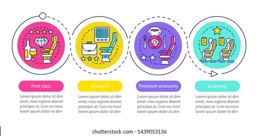 Aircraft travel class seat vector infographic template. Business presentation design elements. Data visualization with four steps and options. Process timeline chart. Workflow layout with linear icons
