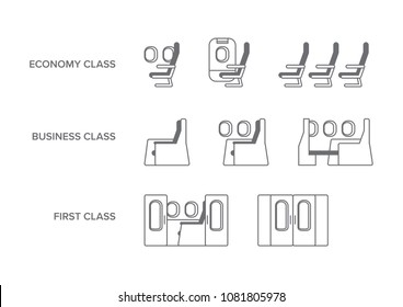 Aircraft travel class seating icon set including Economy, Business and First Suite class