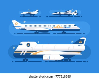 Aircraft types set. Passenger airliner, cargo and military aircraft. Vector illustration