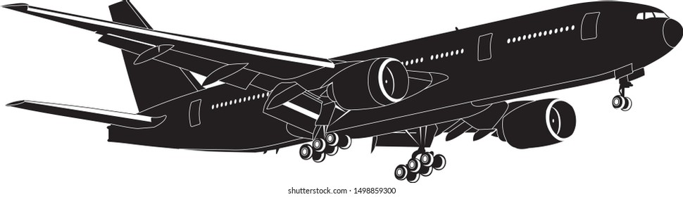 Aircraft vector, black and white isolated vector, Boeing 777