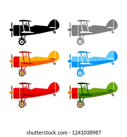 Aircraft vector icons on white background