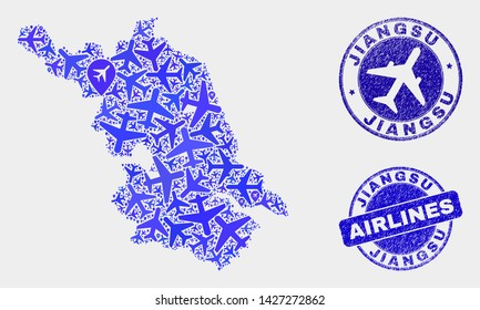 Aircraft vector Jiangsu Province map composition and grunge seals. Abstract Jiangsu Province map is designed with blue flat scattered aviation symbols and map markers. Shipping plan in blue colors,