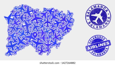 Aircraft vector Salamanca Province map mosaic and scratched seals. Abstract Salamanca Province map is formed of blue flat randomized aircraft symbols and map markers. Shipping scheme in blue colors,