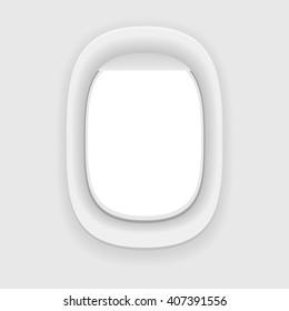 Aircraft window. Plane porthole isolated on white. Vector illustration.