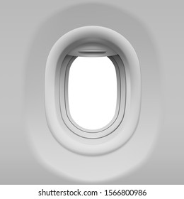 Aircraft window. Realistic airplane porthole with open shade. Vector template of plane interior illuminator with white background outside