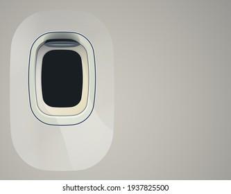 Aircraft windows. Airplane indoor portholes, plane interior window and fuselage glass porthole. Plastic or glass plane windows 3d vector isolated illustration set