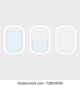 Aircraft windows isolated on transparent background. Closed and open airplane windows set. Travel or tourism concept. Vector illustration in flat style. EPS 10.