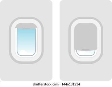 Aircraft windows. Vector realistic airplane window, aircraft illuminator. Plastic or glass plane windows.