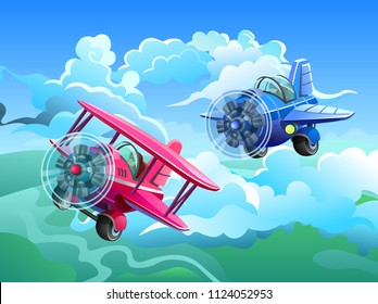 Aircrafts in the sky. Screw aircraft and screw biplane. Vector illustration.
