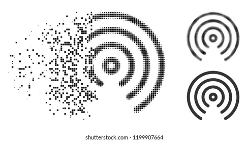 Airdrop center icon in disappearing, pixelated halftone and undamaged entire versions. Elements are organized into vector disappearing airdrop center symbol. Disappearing effect uses square points.