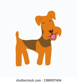 Airedale Terrier dog. Dog icon. Vector illustration. EPS 10.