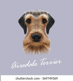 Airedale Terrier Dog Portrait. Vector illustrated Portrait of Airedale Terrier on blue background