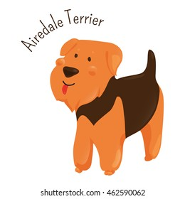 Airedale Terrier isolated on white background. Bingley and Waterside dog. Medium-length black and tan coat. Domesticated canid. Part of series of cartoon puppy species. Child fun pattern icon. Vector