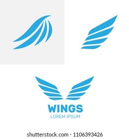 Airforce logo icons. Avia vector logo. Set of heraldic wings or angel wings drawn
