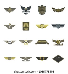 Airforce navy military logo icons set. Flat illustration of 16 airforce navy military logo vector icons for web