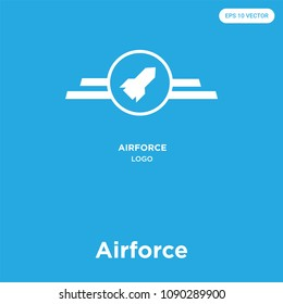 Airforce vector icon isolated on blue background, sign and symbol, airforce vector iconic concept