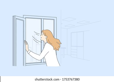 Airing, isolation, coronavirus, healthcare, 2019ncov concept. Woman or girl bringing fresh air in room apartment. Personal hygiene and precautionary preventive measures for avoidance covid19 infection