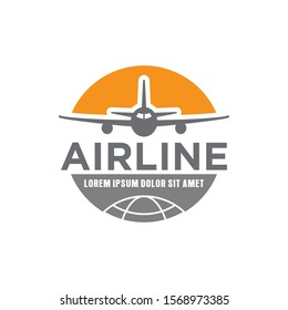 Airline airplane travel agency logo design, transport vehicle icon simple minimalist, element adventure tourism.