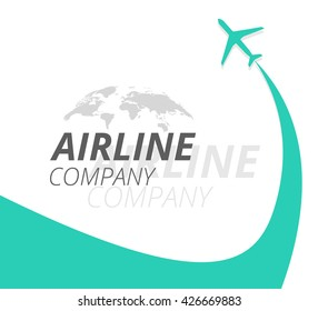 Airline banner with turquoise plane and airplane stream jet. Airline company logotype with world map.