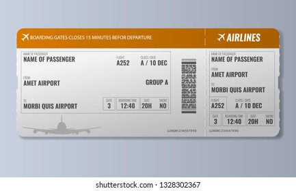 Airline boarding pass or air ticket design template. Realistic Vector illustration.