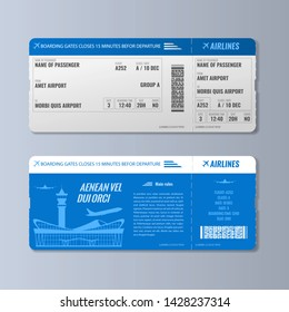 Airline boarding pass or air ticket design template. Double side Realistic Vector illustration.