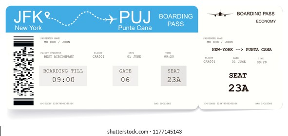Airline boarding pass or airplane ticket. Pattern of boarding pass for flight from New-York to Punta Cana. Concept of travel to ocean or sea. The boarding pass contains fictitious data in the text