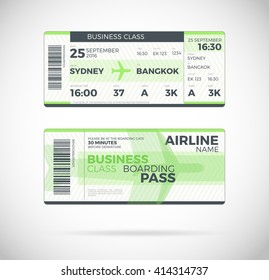 Airline Boarding Pass Economy Class Ticket Stock Vector (Royalty ...