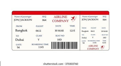 Airline boarding pass ticket with QR2 code.Vector illustration on white background