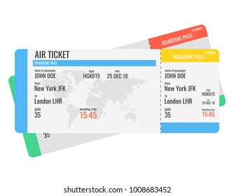 Airline boarding pass ticket. Vector illustration.