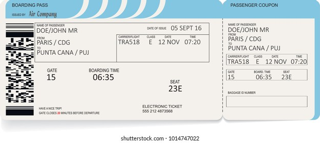 Airline boarding pass ticket. Vector illustration. Concept of journey, business trip or travel. Blue colors