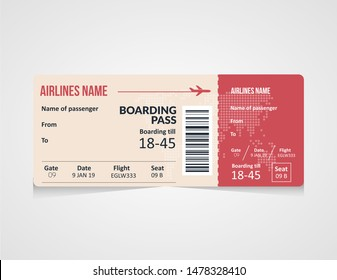 Airline boarding pass ticket Vector illustration. Concept template for travel, business trip or journey.